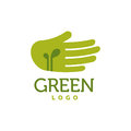 Hand with green sprouts logo. Care concept