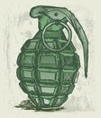 Hand grenade grunge style vector Royalty Free Stock Photos