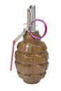 Hand grenade isolated on a white background Royalty Free Stock Photo