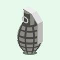 Hand grenade isometric vector illustration