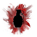 Hand grenade silhouette with painted red color burst artistic illustration of a military on a splatter background Royalty Free Stock Photo