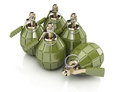 Hand grenades on white background d rendering image Royalty Free Stock Images