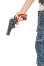 Hand with a gun on white background Royalty Free Stock Images