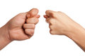Hand in hand on white background, hand gesture, s Stock Images