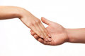 Hand in hand on white background, hand gesture, s Royalty Free Stock Images
