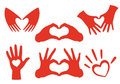 Hand heart set vector shaped hands design elements Stock Photos