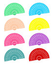 Hand held fans in different colours Royalty Free Stock Images