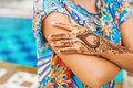Hand with henna tattoo Royalty Free Stock Photo