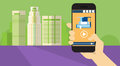 Hand Hold Cell Smart Phone Application Online Elearning Education Banner