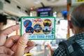 Hand hold city bus ticket Kansai thru pass Royalty Free Stock Photo