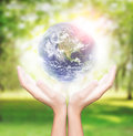 Hand hold earth environment element finished by nasa Royalty Free Stock Photo
