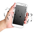 Hand hold music phone with melody around it with white background Stock Images