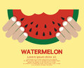 Hand hold a piece of watermelon vector illustration eps Royalty Free Stock Photography