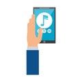 Hand hold smartphone play music