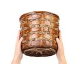Hand hold vintage weave wicker basket close up Stock Photography