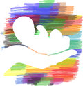 Hand holding baby illustration of a white with layered color background Royalty Free Stock Images