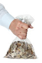 Hand holding a bag of money Royalty Free Stock Images
