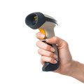 Hand holding barcode scanner Royalty Free Stock Photo