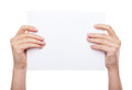 Hand holding blank paper isolated Royalty Free Stock Photo