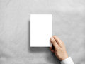 Hand holding blank white vertical postcard flyer mockup. Royalty Free Stock Photo
