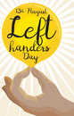 Hand Holding a Brilliant Label for International Left Handers Day, Vector Illustration