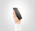 Hand holding broken phone smashed touch screen display cipping path Royalty Free Stock Photo