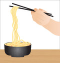 Hand holding chopsticks, eating noodles isolated Royalty Free Stock Photo
