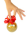Hand holding christmas ball Stock Image