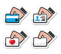 Hand holding credit card, business card  icons set Royalty Free Stock Image