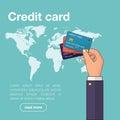 Hand holding credit card. Vector illustration
