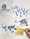 Hand holding diagram of social network structure with sticky not note as concept Stock Photography