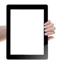 Hand holding digital tablet blank screen Stock Photo