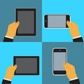Hand holding digital tablet and cellphone,vector illustration in flat design for web sites