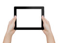 Hand holding digital tablet isolated clipping patch inside Royalty Free Stock Photo