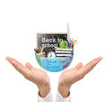 Hand holding earth and education the Royalty Free Stock Photo