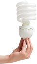 Hand holding energy efficient light bulb Royalty Free Stock Photo