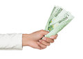 Hand holding euro currency Royalty Free Stock Photo