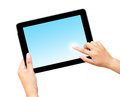 Hand holding and finger pointing tablet computer w Royalty Free Stock Photo