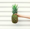 Hand holding fruit pineapple over white background Royalty Free Stock Photo