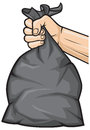 Hand holding garbage bag black plastic trash Royalty Free Stock Image
