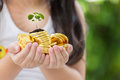 Hand holding golden coins concept on green background. Taxpayer. Royalty Free Stock Photo