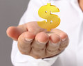 Hand holding golden dollar simbol the Stock Images