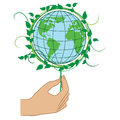 Hand holding the Green Planet Earth Royalty Free Stock Photo