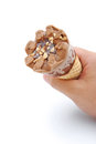 Hand holding an ice cream cone with clipping path Royalty Free Stock Photo