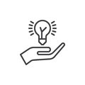 Hand holding idea bulb line icon, outline vector sign, linear style pictogram isolated on white. Idea sharing symbol, logo illustr Royalty Free Stock Photo