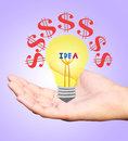 Hand holding incandescent light bulb isolated white background Royalty Free Stock Photo