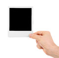 Hand holding instant shot frame isolated white Stock Image