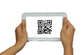 Hand holding isolated white tablet with QR code scan Royalty Free Stock Photo