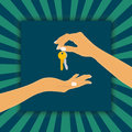The hand holding the key chain is the seller or the owner and the arm receiving the house key is the buyer or purchaser.