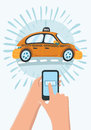 Hand holding mobile smart phone with app search taxi.